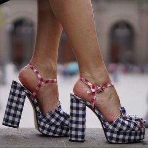 Zara Gingham platform sandals. Brooch detail.